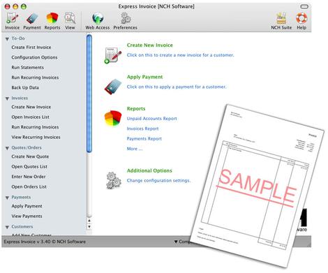 Express invoice, logiciel de facturation pour Mac