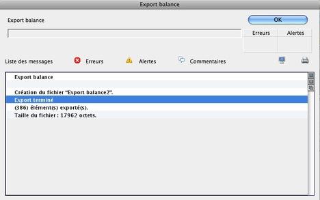 Exportation de la balance à partir de Ciel Compta Mac