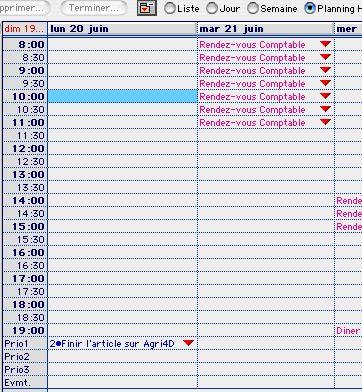 Ciel Professionnel indépendant Mac: zoom sur le planning