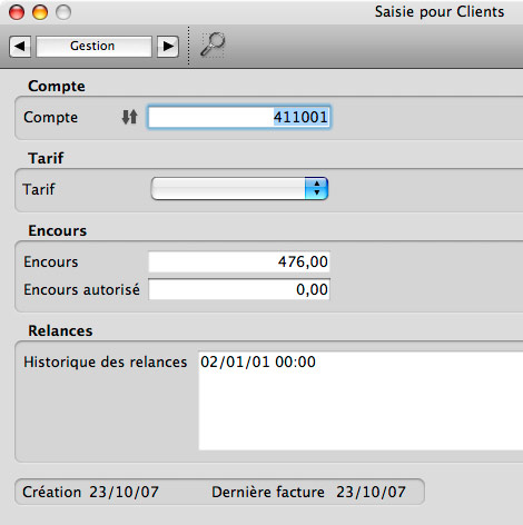 Onglet Gestion