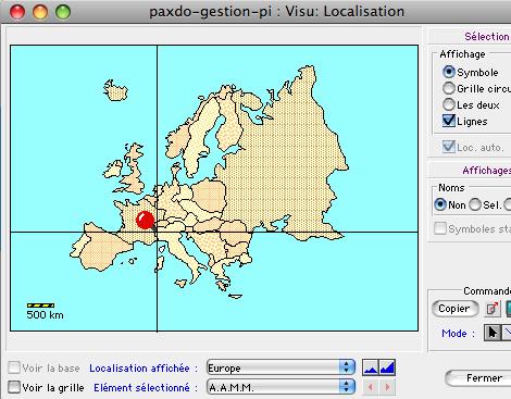 Localisation géographique sur la carte d'Europe dans Ciel Gestion Commerciale Mac *
