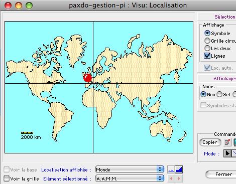 Localisation géographique sur la carte du monde dans Ciel Gestion Commerciale Mac *