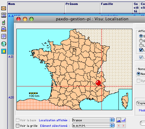 Localisation géographique sur la carte de France dans Ciel Gestion Commerciale Mac *