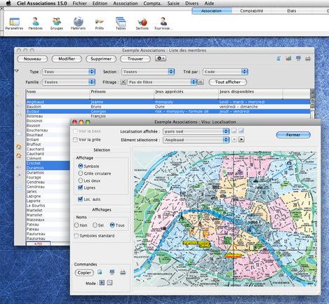 Localisation d'une sélection d'adhérents d'une association sur une carte géographique