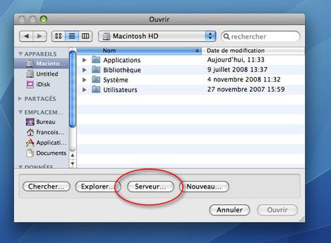 Fenêtre d'ouverture d'un fichier partagé sur le réseau Ciel