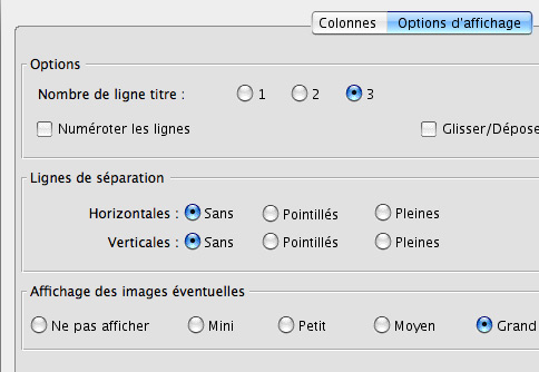 options d'affichage de la liste