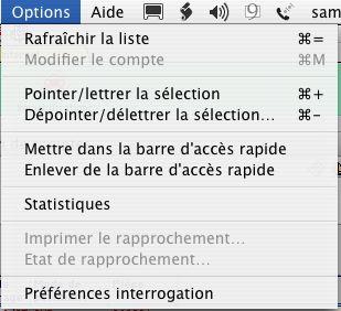 Ciel Compta Mac: le menu