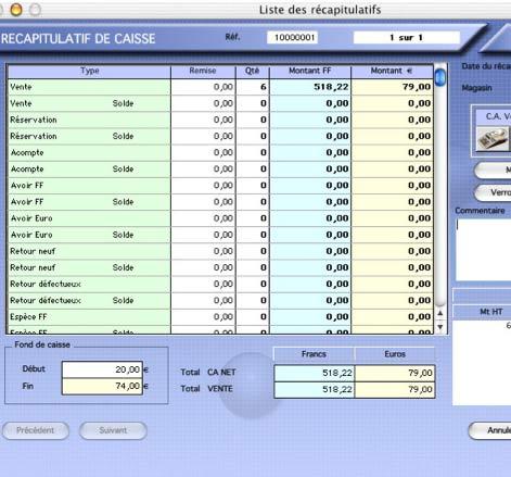 logiciel de caisse kinhelios TPV: le recapitulatif de caisse