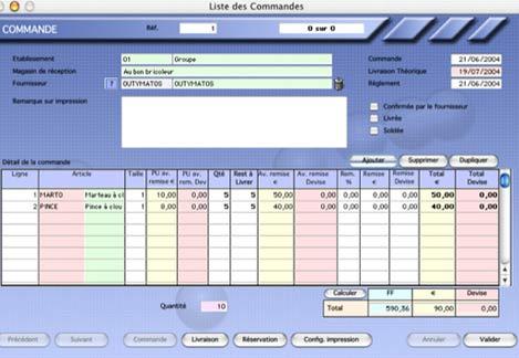 kinhelios TPV: détail d'une commande fournisseur