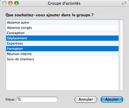 Les groupes d'activités