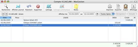 La fenêtre d'un compte comptable dans Cogilog Compta