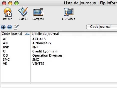 logiciel dream compta mac: la liste des journaux