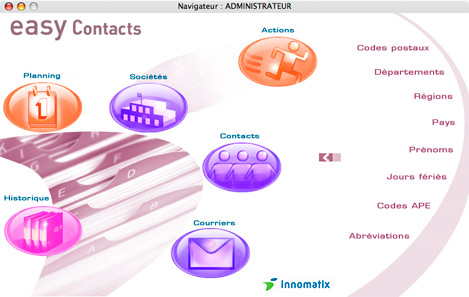 menu principal d'Easy Contacts