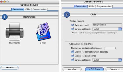 logiciel mac emailink: envoi d'un mailing postal