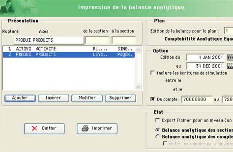 equacompta: paaramétrages balance analytique