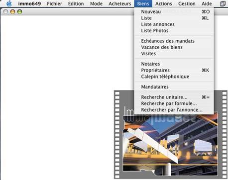 logiciel mac immo image: le menu