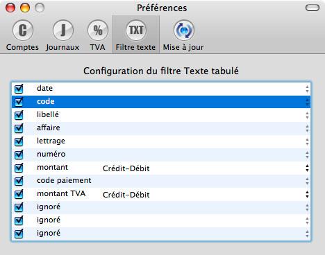 Paramétrage du format texte tabulé