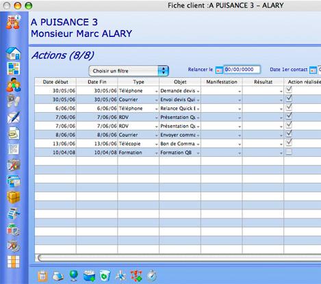 Actions effectuées pour un client, dans QuickBusiness